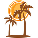 palm tree with sun