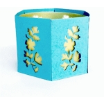 leaf & flower silhouette candle holder