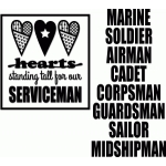hearts for serviceman placard vinyl