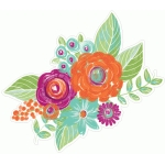 floral cluster painted orange purple