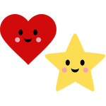 cute heart and star