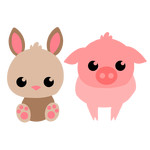 spring bunny and piglet