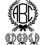monogram basic -  bow wreath