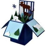 winter animals card in a box