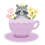 raccoon tea cup