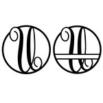 fancy monogram circle nameplate u