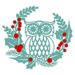 owl holly wreath two color