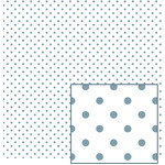 white with blue polka dot pattern
