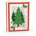 shadow box card christmas trees