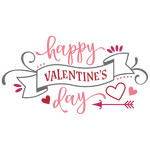 happy valentines day banner phrase