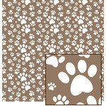 brown & white paw print pattern