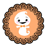 web doily with little ghost
