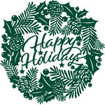 happy holidays christmas wreath papercut