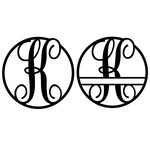 fancy monogram circle nameplate k