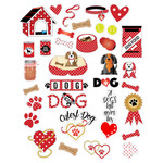 red polka dot dog planner stickers