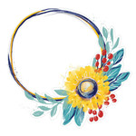 painted floral circle frame yellow