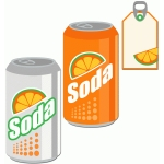 soda and tag set: orange