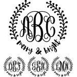 monogram basic script - merry & bright wreath