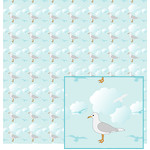 seagull in clouds pattern