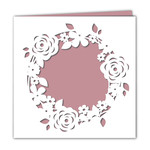 blank floral wreath square card