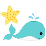 whale and star fish