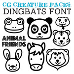 cg creature faces dingbats