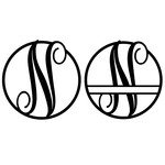fancy monogram circle nameplate n