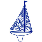 sailing boat with wave sails papercut