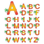 palm tree monogram stickers