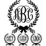 monogram basic script - bow wreath