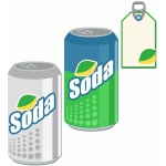 soda and tag set: lemon lime