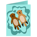 floating otters card