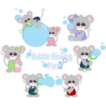 mice blowing bubbles stickers