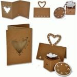 wedding leafy heart card, placecard and favour box