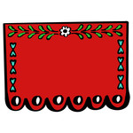red scalloped banner