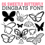 cg sweetly butterfly dingbats
