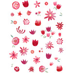 summer flowers watercolor stickers