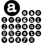 typewriter alphabets - small letters