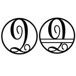 fancy monogram circle nameplate q