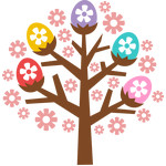 easter egg and flowers tree