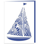 sailing boat with waves card