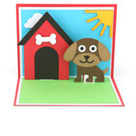 a2 dog + dog house pop up card