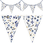 indigo floral watercolor bunting